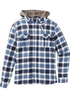 Рубашка Slim Fit со съемным трикотажным капюшоном (темно-синий в клетку) Bonprix