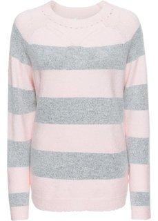 Пуловер полосатый вязаный (нежно-розовый/светло-серый меланж в полоску) Bonprix