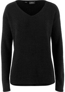 Пуловер покроя оверсайз с разрезом (черный) Bonprix
