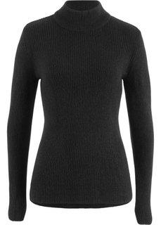 Пуловер в рубчик с высоким воротником (черный) Bonprix