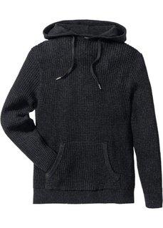 Пуловер Regular Fit с капюшоном (антрацитовый меланж) Bonprix