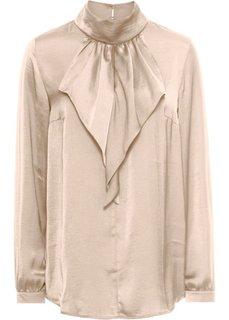 Сатиновая блузка с воланом (золотистый металлик) Bonprix