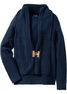 Пуловер со съемным шарфиком Slim Fit (темно-синий) Bonprix