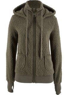 Плюшевая куртка (темно-оливковый) Bonprix