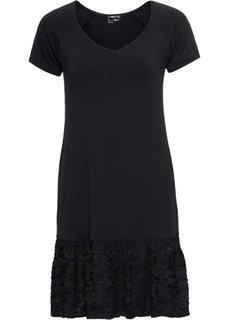 Платье с кружевной вставкой (черный) Bonprix
