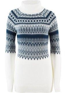 Пуловер-водолазка, украшенный бусинами (кремовый/темно-синий с узором) Bonprix