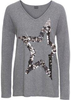 Пуловер со звездой из пайеток (темно-серый) Bonprix