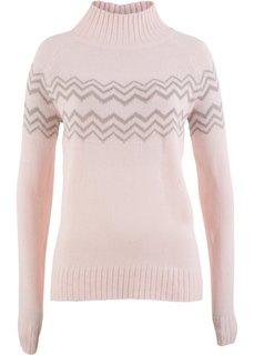 Пуловер (розовый жемчуг/кремовый) Bonprix