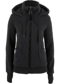 Плюшевая куртка (черный) Bonprix