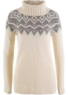 Пуловер с высоким воротником и длинным рукавом (кремовый меланж/серый с принтом) Bonprix