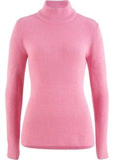 Пуловер в рубчик с высоким воротником (малиново-розовый) Bonprix