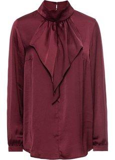 Сатиновая блузка с воланом (темно-бордовый) Bonprix