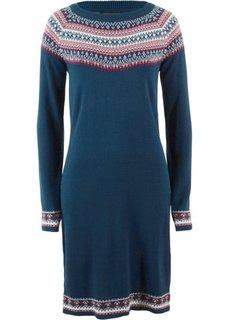 Вязаное платье (темно-синий с узором) Bonprix