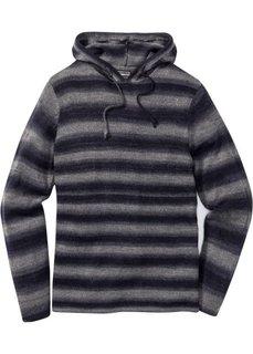 Пуловер Slim Fit с капюшоном (серый/синий в полоску) Bonprix