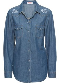 Блузка из денима с вышивкой и длинным рукавом (синий) Bonprix