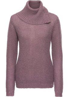 Пуловер с высоким воротником (фиолетовый матовый/синий) Bonprix