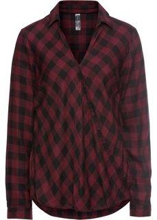 Блузка с эффектом запаха (черный/темно-бордовый в клетку) Bonprix