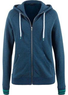 Куртка трикотажная с полосатыми манжетами (темно-синий) Bonprix