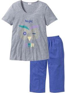 Пижама-капри (светло-серый меланж/лиловый с принтом) Bonprix