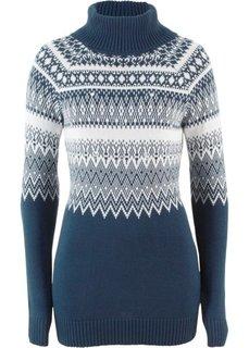 Пуловер-водолазка, украшенный бусинами (темно-синий/кремовый с узором) Bonprix