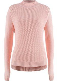 Пуловер с воротником-стойкой и структурным узором (розовый) Bonprix