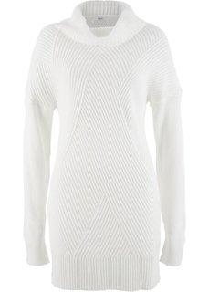 Удлиненный пуловер в стиле оверсайз (цвет белой шерсти) Bonprix