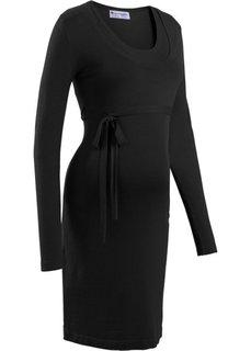 Платье с поясом (черный) Bonprix
