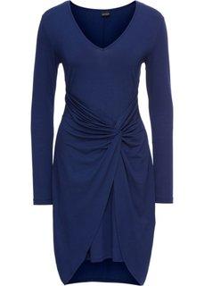 Трикотажное платье с драпировкой в узел (темно-синий) Bonprix