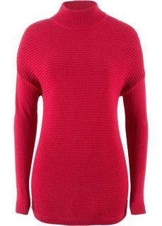 Пуловер с воротником-стойкой (красный) Bonprix