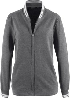 Куртка трикотажная со спортивным воротником (серый меланж) Bonprix