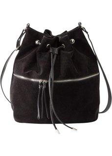 Сумка-мешок с дополнительным карманом (черный) Bonprix