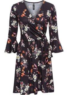 Трикотажное платье (черный в цветочек) Bonprix