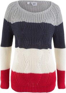 Пуловер в полоску (кремовый/красный/севтло-серый меланж/темно-синий в полоску) Bonprix