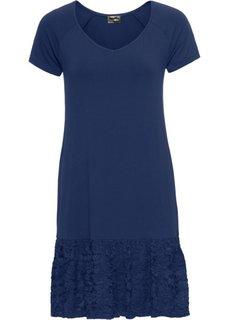 Платье с кружевной вставкой (темно-синий) Bonprix