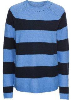 Пуловер полосатый вязаный (голубой/темно-синий в полоску) Bonprix
