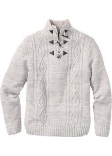 Пуловер Regular Fit c узором косичка (светло-серый меланж) Bonprix