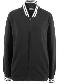 Куртка трикотажная со спортивным воротником (черный) Bonprix