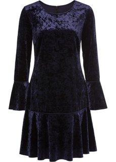 Платье с воланами, материал под бархат (темно-синий) Bonprix