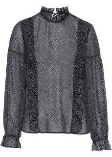 Блузка из шифона с рюшами (черный с рисунком) Bonprix