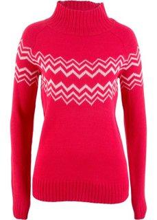 Пуловер (красный/кремовый) Bonprix