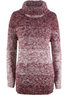 Пуловер с высоким воротником (кленово-красный меланж) Bonprix