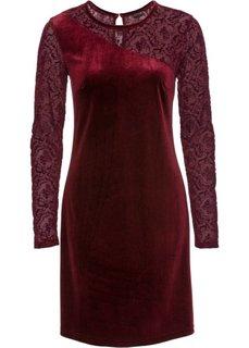 Бархатное платье с прозрачными рукавами (кленово-красный) Bonprix