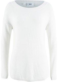 Пуловер с вырезом-лодочкой (кремовый) Bonprix