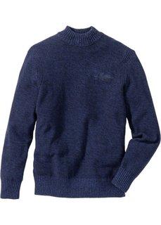 Пуловер Regular Fit с воротником-стойкой (меланж полуночной сини) Bonprix