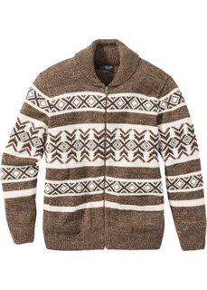 Кардиган Regular Fit в норвежском стиле с долей шерсти (темно-коричневый/бежевый с узором) Bonprix