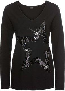Пуловер со звездой из пайеток (черный) Bonprix