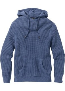 Пуловер Regular Fit с капюшоном (синий джинсовый меланж) Bonprix