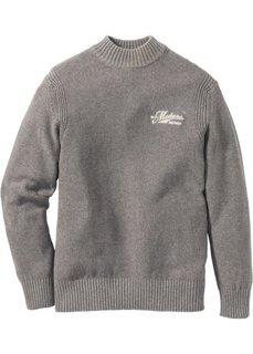 Пуловер Regular Fit с воротником-стойкой (серый меланж) Bonprix