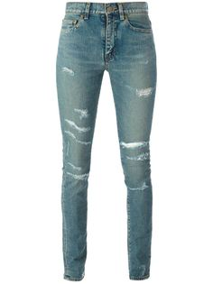 джинсы кроя скинни  с рваными деталями   Saint Laurent