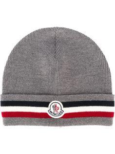 шапка-бини с контрастными полосками   Moncler